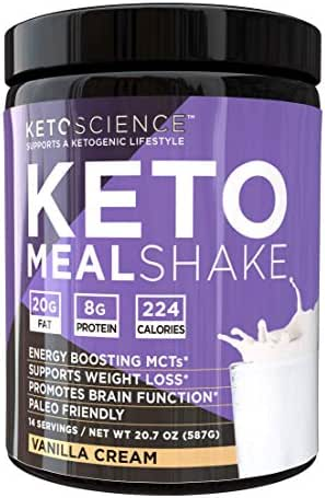 Keto Science Ketogenic Meal Shake Vanilla Dietary Supplement, Rich in MCTs and Protein. Keto and Paleo Friendly, Weight Loss, 20.7oz. (14 servings)