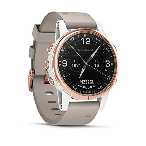 Garmin D2 Delta S Smaller-Sized GPS Pilot Watch Includes Smartwatch Features Heart Rate and Music Rose Gold with Beige Leather Band [並行輸入品] B07HRQ14H2