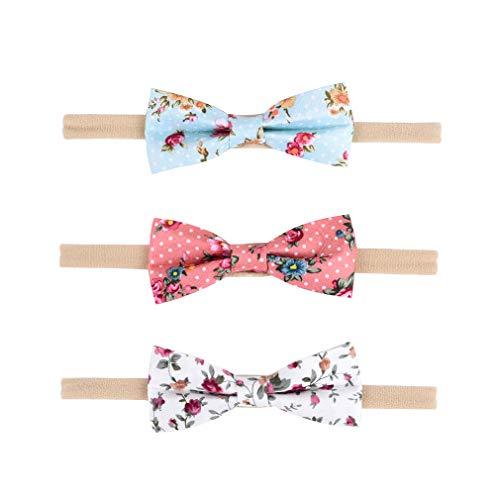 DEEKA Headbands Bows Flowers Print with Soft Nylon Elastic Headband 3PCS Hair Bows Hair Band for Baby -