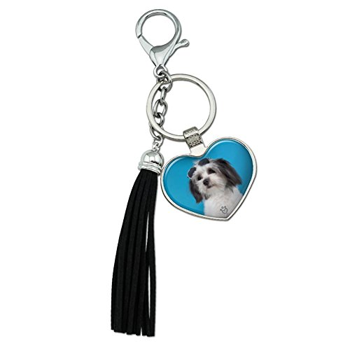 Graphics and More Maltese Papillion Puppy Dog Cool Sunglasses Shades Chrome Plated Metal Heart Leather Tassel Keychain