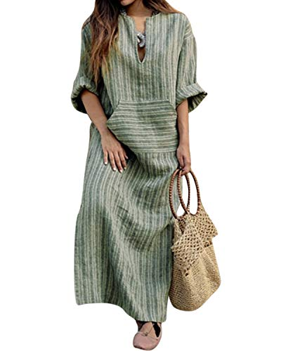 Jacansi Women Long Sleeve V-Neck Vintage Cotton Linen Loose Maxi Kaftan Dress Green L
