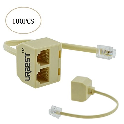 URBEST 2 pcs rj11 male to female two way telephone splitter converter cable