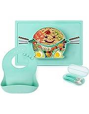 5 PCS Baby Teller Silikon Tischset Kindergeschirr Set Babylätzchen Baby Esslernbesteck Kinder Trennende Platte Platzset Rutschfester mit Saugnapf Abwaschbar-Grün