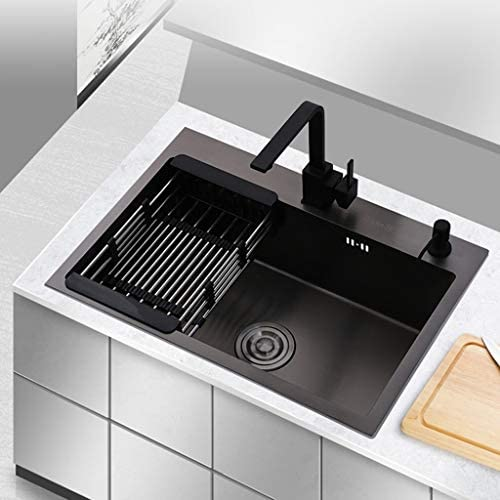 Kitchen Sinks Kitchen Sink Single Trough Home Black Stainless Steel Sink Manual Sink Cafe Bar Restaurant Sink Durable Easy To Clean Spill Proof Color Black B Size 65 45 22cm