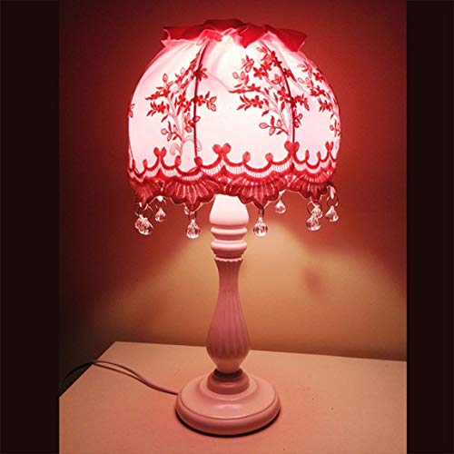 - FMEZY Desk Lamp Bedroom Bedside Fashion Table Lamp Living Room Decorative Princess Korean Children's Table Light White Base Lace Cloth Lampshade Table Lamp - Push Button Switch (Color : Pink)