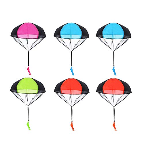 Fashionclubs Parachute Toys 6pcs Tangle Free Throwing Parachute Figures Skydive Parachutes Man Hand Throw Soldier Toss It Up and Watching Landing Outdoor Flying Toys for Kids Gifts ()