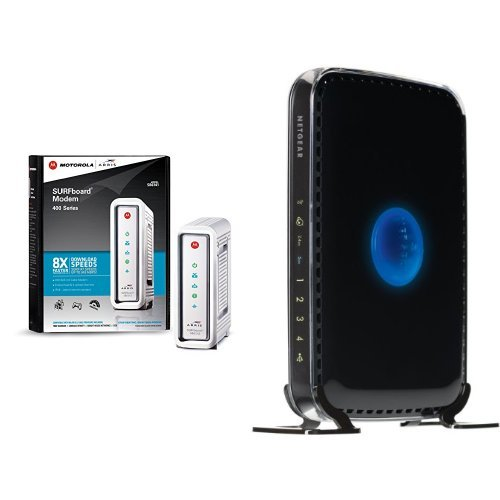 ARRIS SURFboard SB6141 DOCSIS 3.0 Cable Modem and NETGEAR N600 Dual Band Wi-Fi Router (WNDR3400) image