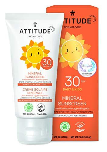 ATTITUDE Natural Care, Hypoallergenic Mineral Sunscreen, SPF 30, Vanilla Blossom, 2.6 oz