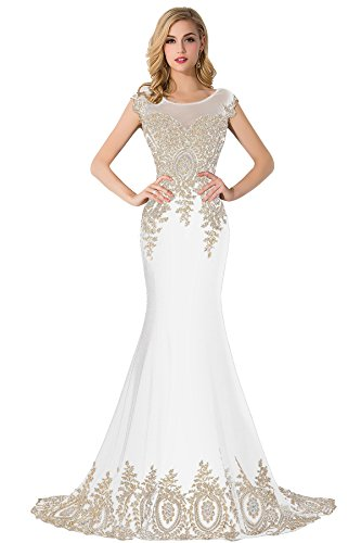 Babyonline Floor Length Evening Dress Lace beads Cap Sleeve Party Prom gowns,white,size:12