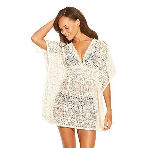 (Xhilaration Women's Crochet Cut Out Back Cover Up Dress Natural M)
