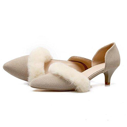 Matte européenne cuir Pointu faible talon sandales femme en peluche Décoration , beige , 42