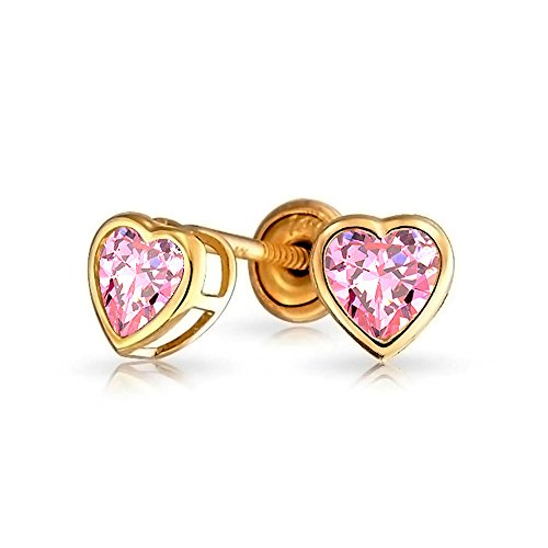 Heart Shaped 14K Gold Safety Screwback Stud Earrings for Baby Girl Kids Simulated Pink Topaz ()