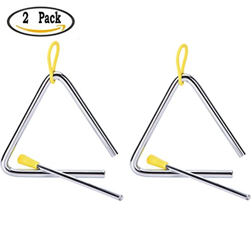 Buytra Music Triangle Instrument Set with Striker for kids (4 inch- Pack of 2)