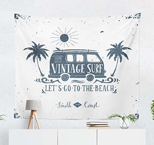 Classic Wall Tapestry,Tapestry Wall Hanging Summer Retro Van and Surf Tropical Trees Van Beach Surf Vintage Bus Wall Decor for Bedroom Living Room Tablecloth Dorm 80x60 Inches