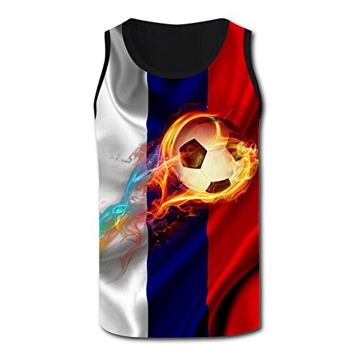 s Burning Leap Football 2018 World Cup Casual 3D Vest Sleeveless Shirt ()
