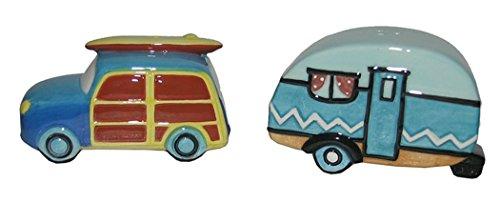 Ceramic Beach Car and Camper Design Salt and Pepper Shaker Set