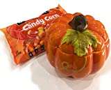 Fall Pumpkin Candy Jar Dish with lid and 17.8 oz. bag of Brach's Candy Corn for your Fall, Thanksgiving or Halloween Decor