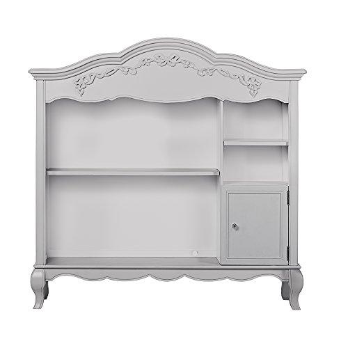 Evolur Aurora Bookcase in Akoya Grey Pearl/Silver Mist