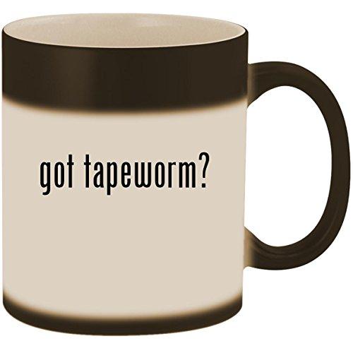 got tapeworm? - 11oz Ceramic Color Changing Heat Sensitive Coffee Mug Cup, Matte Black ()