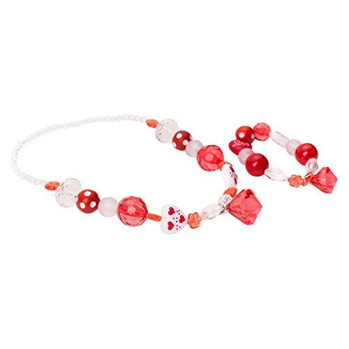The Princess Adults Costumes Tiana And Frog (Little Adventures Chunky Necklace and Bracelet Jewlery Accessory - Red/White)
