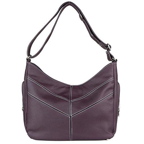 Concealed Carry Purse - The Jaden Stitched Hobo by Miss Conceal - Geniune Leather (Dark Purple) by Miss Conceal