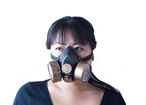 Costume Fake Gas Mask for Adults, Men Women. for Raves, Festivals, Steampunk Cosplay, and Costumes. Covers Half face. Gold]()