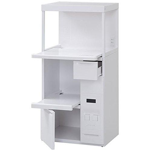 レンジ台/キッチン収納 〔幅60cm〕 小引き出し/米びつ/二口コンセント付き スライドテーブル B0793QBLZX