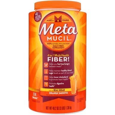 Metamucil Psyllium Fiber Supplement Orange Sugar Smooth Texture Powder 114 Doses 114DOS (Pack of 6)