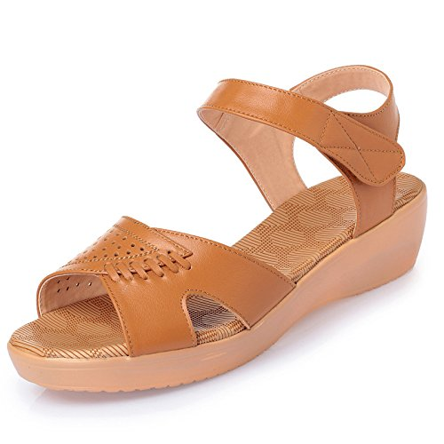 ZPPZZP La sig.ra scanalato sandali a tacco alto irregolare con Wild parti e punta aperta 34 giallo