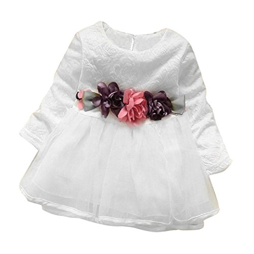 Longra Baby Kinder Mädchen Langarm Prinzessin Blumen Kleid Kostüm Tutu Kleid Karneval Party Kleid Baby Outfits Kleidung(0-3Jahre) White