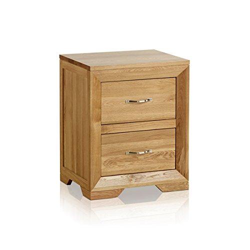 Oak Furniture Land Bevel Natural Solid Oak 2 Drawer Bedside Table Bedroom Furniture, Waxed Oak Finish