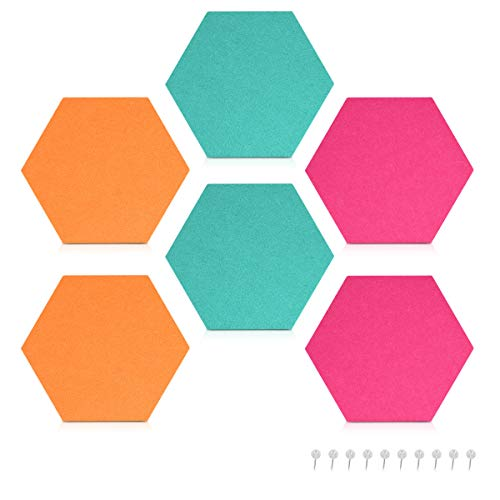 (Navaris Hexagon Felt Board Tiles - Set of 6 Notice Memo Bulletin Boards with Push Pins Pack 5.9 x 7 inches (15 x 17.7 cm) - Turquoise, Orange, Pink)