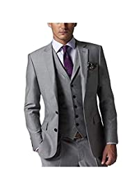 SHENLINQIJ Men's 3 Pieces Grey Wedding Suits for Business Men Suits Groom Tuxedos