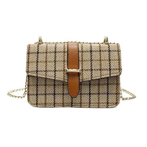 Delicacydex Borsa a tracolla in catena di stoffa di lana modello plaid vintage Borsa a tracolla borsa a tracolla piccola Borsa a tracolla in stile All-match per borsetta da donna