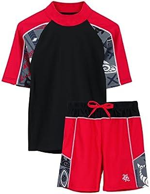 Tuga Boys Two-Piece Short Sleeve Swimsuit Set 2-14 Years, UPF 50+ Swimwear