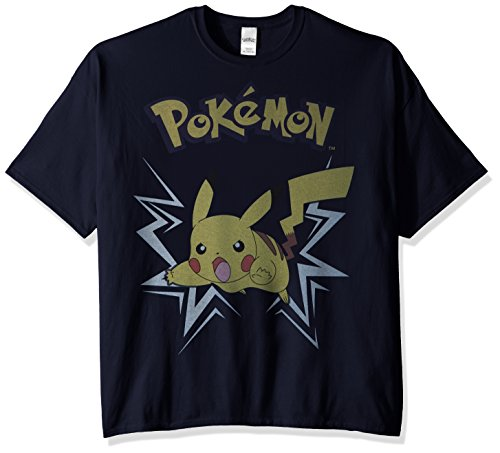 2x Xxl T-shirt - Pokemon Men's Big and Tall Short Sleeve Pikachu T-Shirt, Navy, 2X-Large