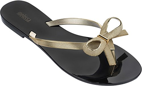 Melissa Womens Harmonic Chrome II Flip Flop Sandal Black Gold Size 5