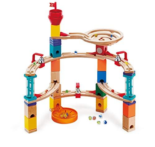 Hape Castle Escape - Quadrilla Wooden Marble Run - STEM Learning, Building & Development Construction Toy - Counting, Color & Problem Solving for Ages 4+, 101Piece ()