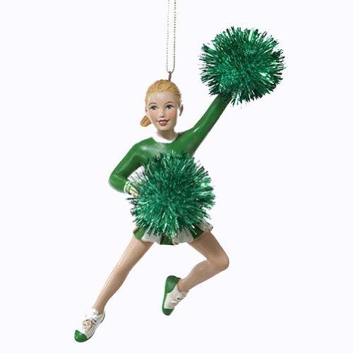 Kurt Adler Christmas Ornament Cheerleader w Green Pom Poms Ornament