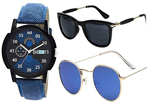 1db36a0818e Sheomy Stylish American blue marqury full black frame sunglasses and watch  combo for men latest round