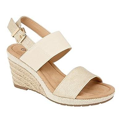 e2e074a5a26308 Shumo ORANGE GROVE Ladies Elasticated Wedge Heel Sandals Gold UK 8 ...