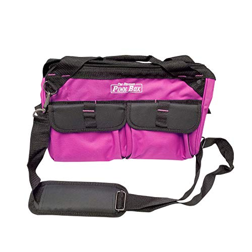 The Original Pink Box PB15TB 15-Inch Wide Mouth Soft Sided Tool Bag with Zipper and Shoulder Strap, Pink