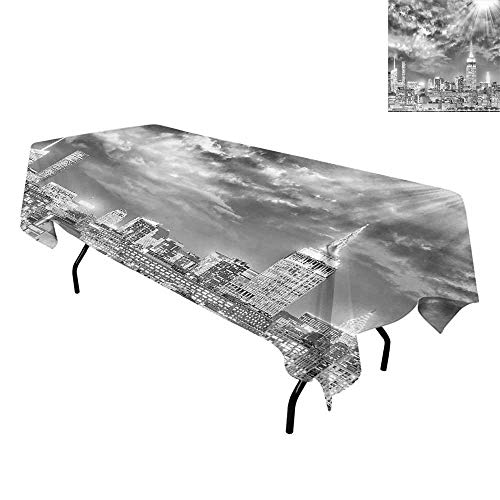 Urban,Luxurious Table Cloth Wrinkle Resistant,Dramatic New York City Skyline Sun Beams Clouds Skyscrapers Monochrome Landscape,Tablecloths Elegant Party Tables,W60 x L120 Inch Black White]()