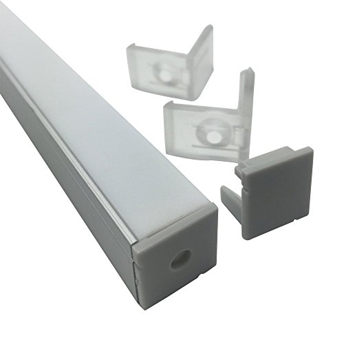 LightingWill 20-Pack V-Shape LED Aluminum Channel 6.6ft/2M Anodized Silver Corner Mount Extrusion for <12mm width SMD3528 5050 LED Strips with Vertical Cover, End Caps and Mounting Clips V01S2M20 by LightingWill (Image #3)
