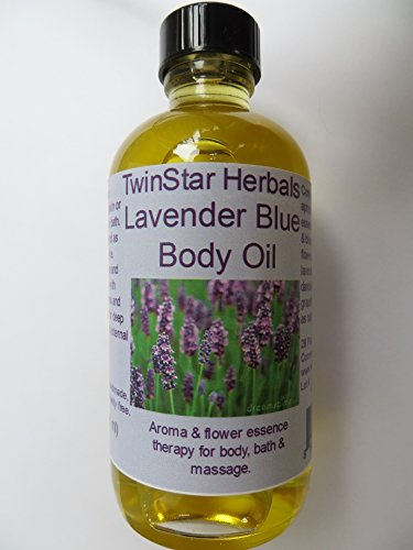 - TwinStar Herbals Lavender Blue Body, Bath and Massage Oil 4 oz with flower essences formulated to relax.