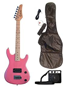 metallic pink junior kids mini 3 4 electric guitar amp starter pack guitar temolo. Black Bedroom Furniture Sets. Home Design Ideas