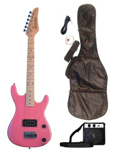 Metallic Pink Junior Kids Mini 3/4 Electric Guitar Amp Starter Pack (Guitar, Temolo, Amplifier, Gig Bag, Strap, Cable & DirectlyCheap(TM) Translucent Blue Medium Guitar Pick) by Directly Cheap