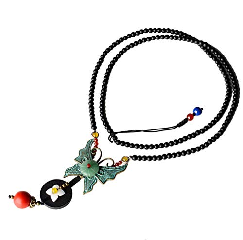 - Decoroption 15 Inch Butterfly Costume Statement Y Necklace with Pendant and Glass Crystal Beads Extender