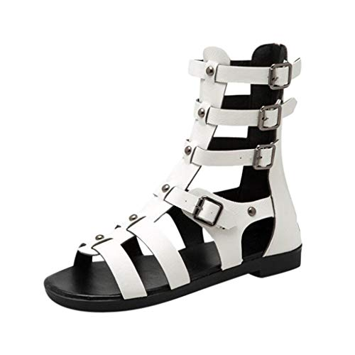 Aniywn Women Lace Up High Gladiator Sandals Peep Toe Metal Zipper Summer Casual Sandals White