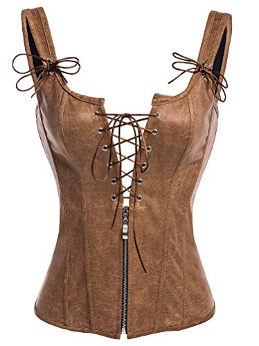 Alivila.Y Fashion Corset Womens PVC Steampunk Bustier Boned Lingeries 2101-Brown-S ()